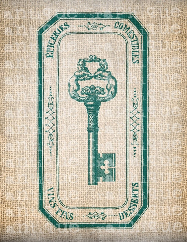 Antique AQUA French Frame Skeleton Key Ornate Digital Download for Tea