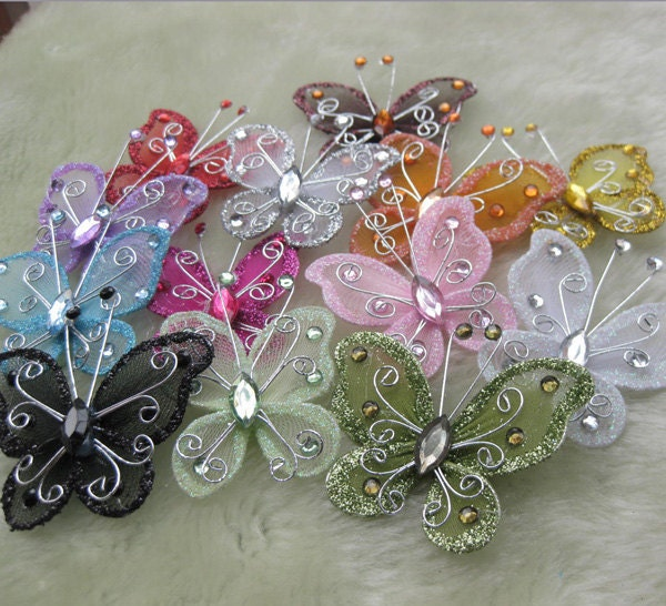 26pcs hot sale Organza butterfly wedding decorations for wedding craft diy