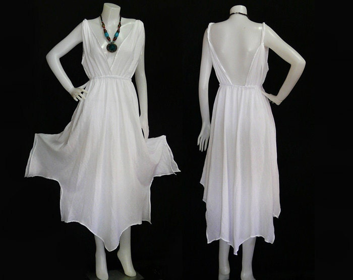 Hippie Bohemian White Cotton Wedding Halter Maxi Dress BH010