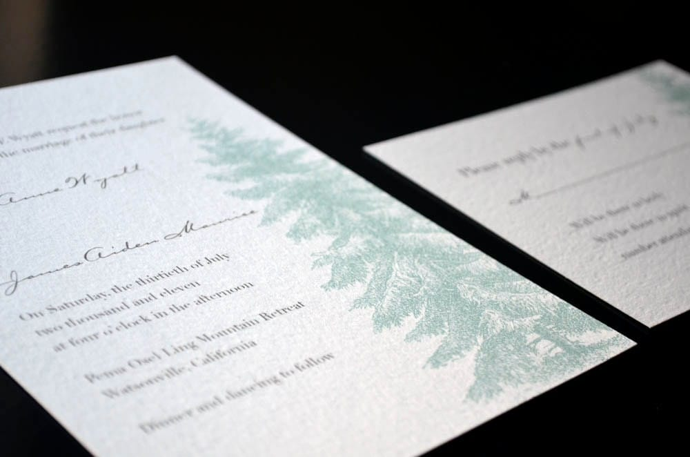 Vintage Evergreen Tree Wedding Invitation Suite Sample Set