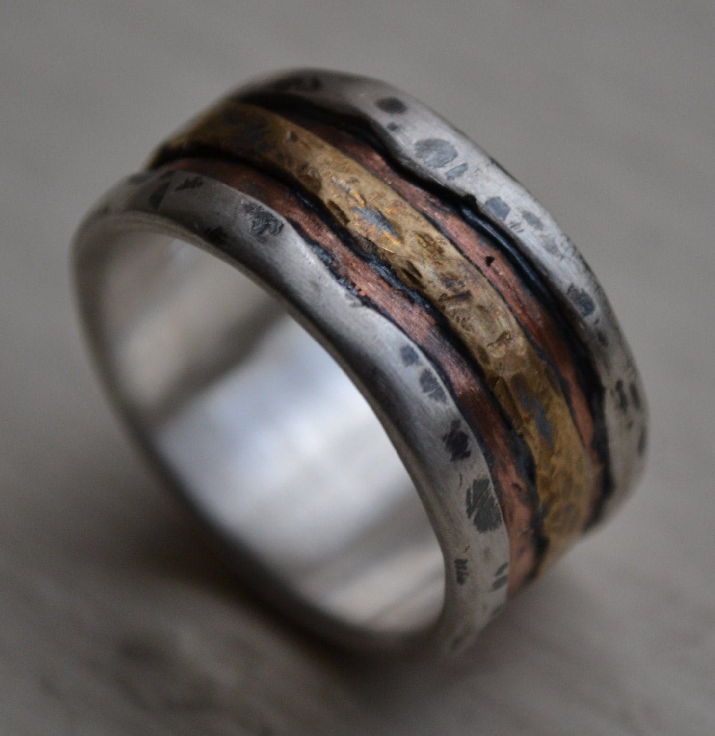 silver mens wedding bands Hey I found this really awesome Etsy listing at https www etsy com listing rustic men ring silver copper ring mens Wedding Pinterest