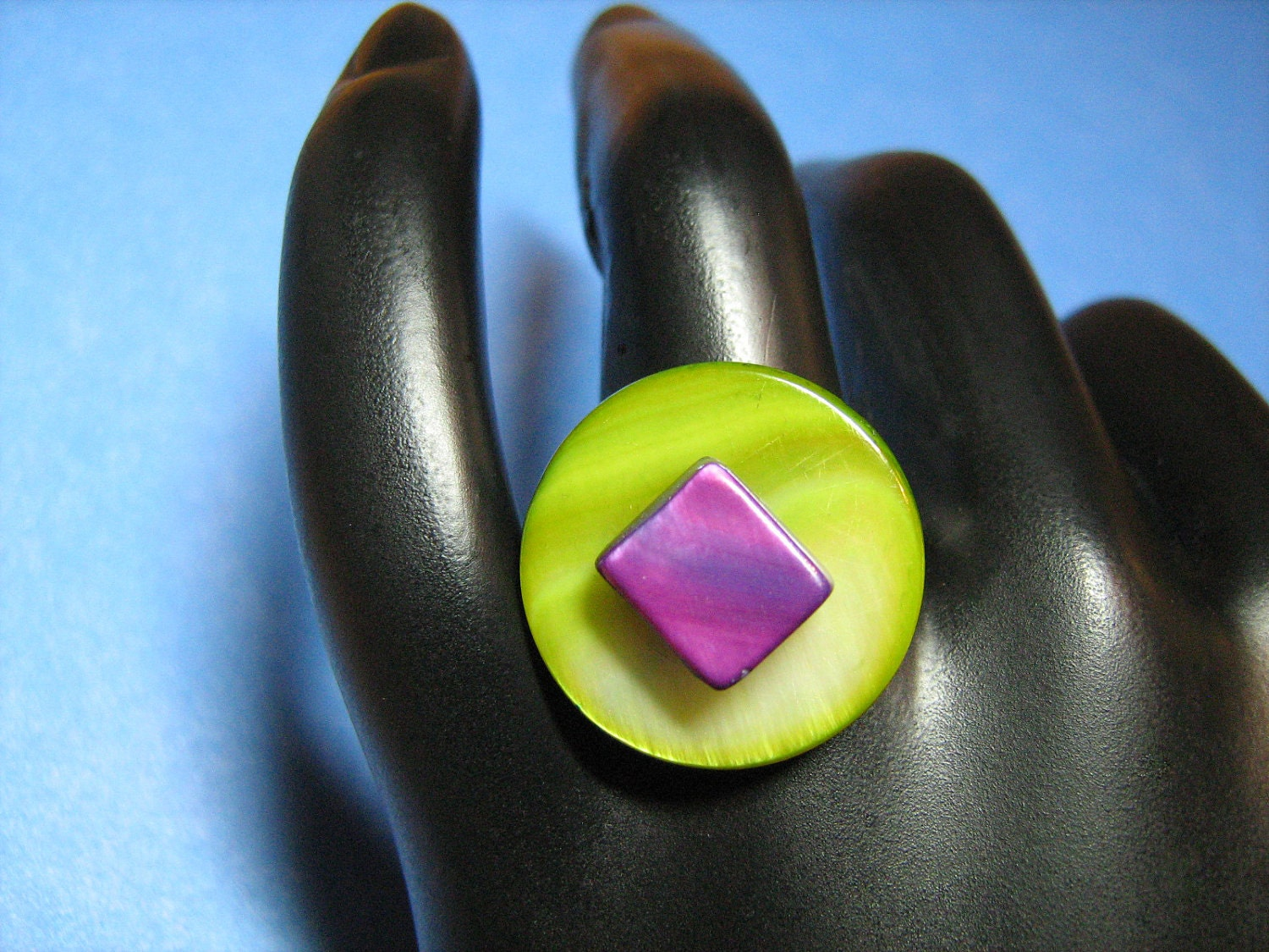 Lime Green and Iridescent Purple River Shell Beads Ring