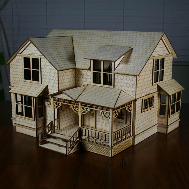 A victorian doll this miniature house built by gordon for Victorian doll house plans
