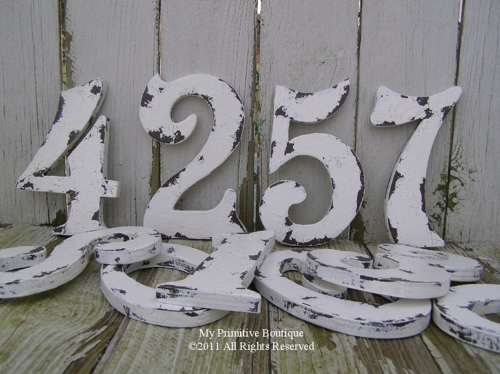Vintage WEDDING TABLE NUMBERS Distressed Table Numbers Wooden Cut Out