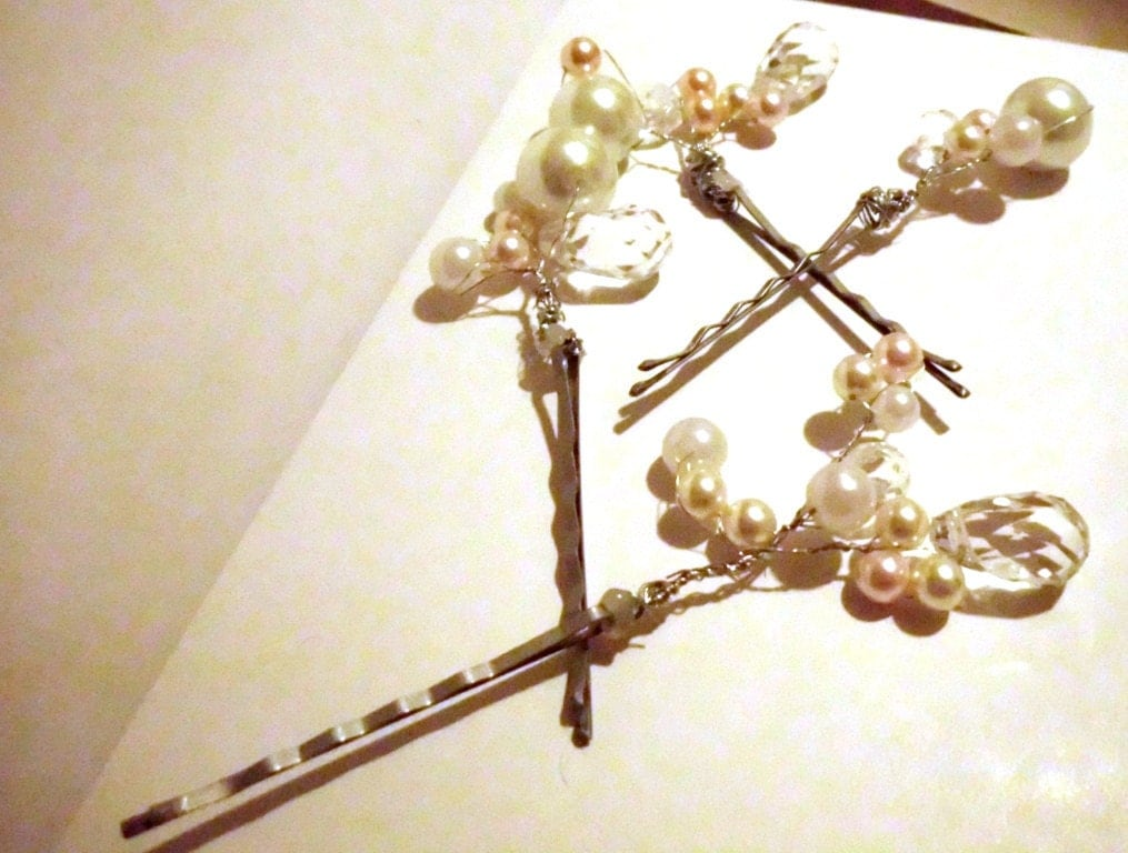 Pearl and Crystal Bridal Bobby Pin Fairy Flower Bridal Hair Pins Hair