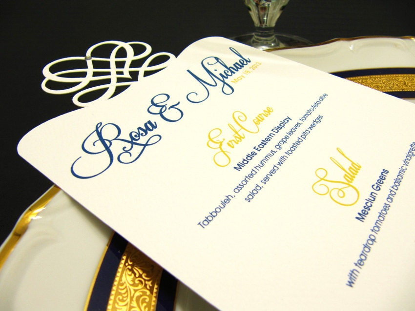 Wedding Menu Elegant Die Cut Wedding Menu Card Sample