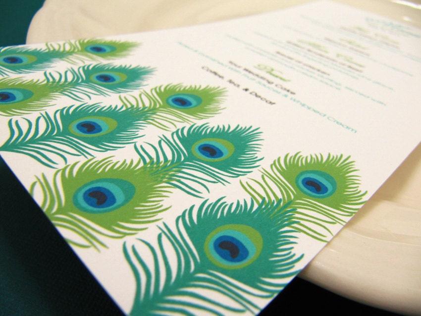 Wedding Menu Peacock Feather Wedding Menu Card Sample