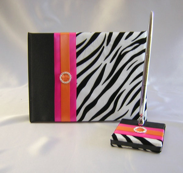 Zebra Print Fuchsia Orange Wedding Quinceanera Sweet Sixteen Guest Book Pen