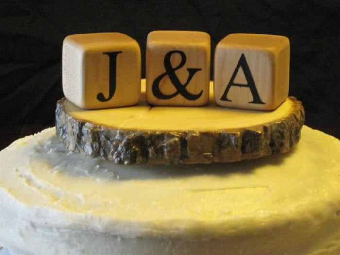 Customized Cake Topper Tree Slice Wedding Cake Wooden Toppers Custom Wood