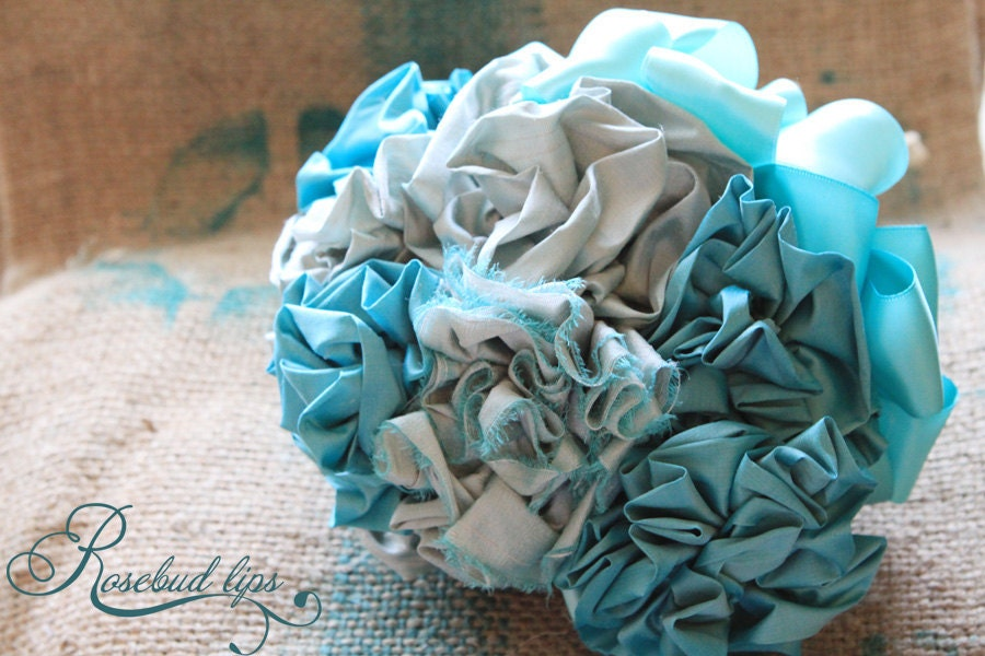 Silk Flower Wedding Bouquet Tiffany Blue Robins Egg Flower Arrangement