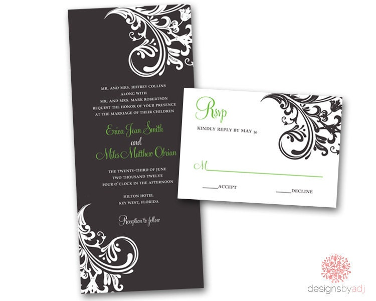 SAMPLE SET Sweet Scroll Wedding Invitation From DesignsbyAdj
