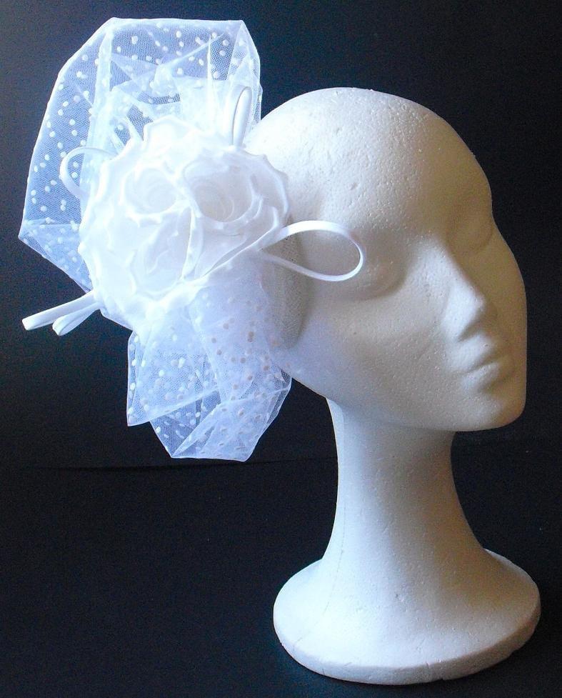 Bridal fascinator bridal head piece bridal hat white fascinator with