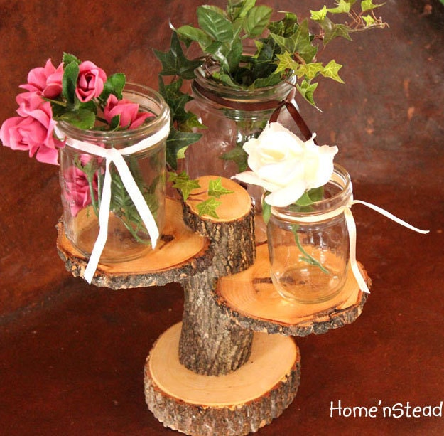 3 Teared Rustic Wedding Decor Tree Mason Jar Candle Stand Table Center