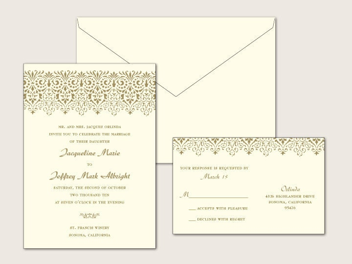 Vintage Lace Digital Wedding Invitation Set 1 color