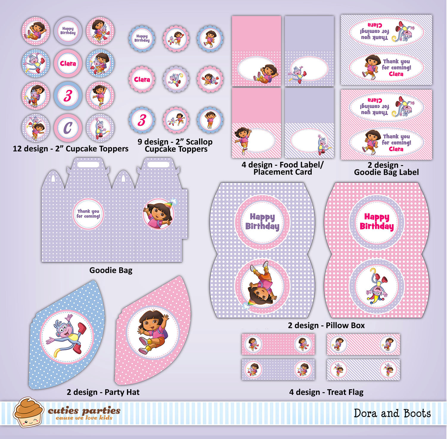 Dora and Boots Printable Birthday Party KitCuties Parties – Printable Dora Birthday Invitations