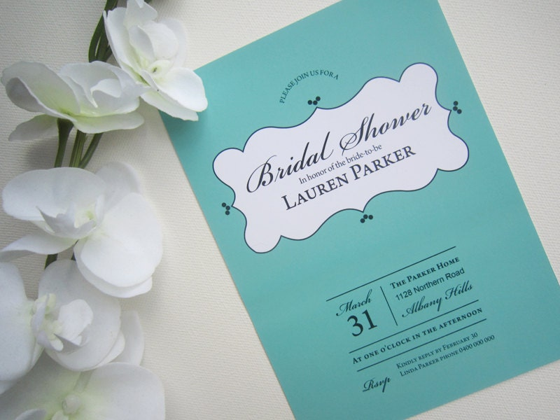 Tiffany Theme Printable Bridal Shower Invitation From rosiedaydesign