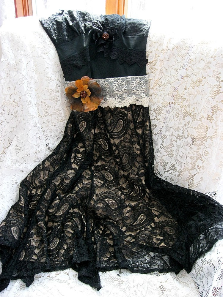 Black slip dress Black lace dress Altered couture dress Retro dress Romantic