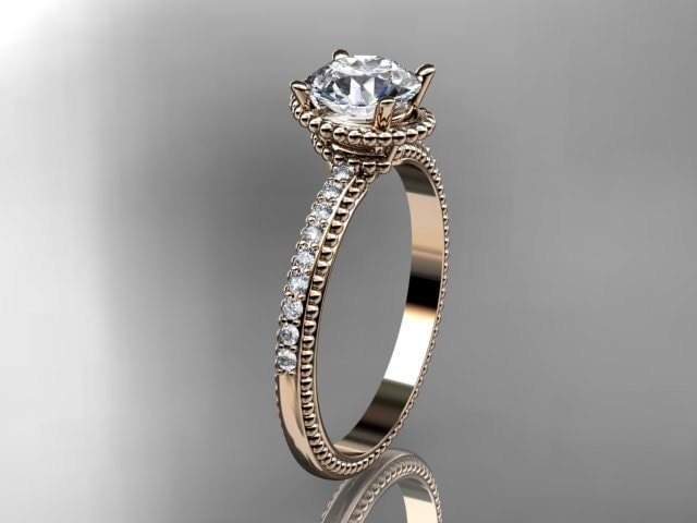14kt rose gold diamond unique engagement ringwedding ring ADER86E
