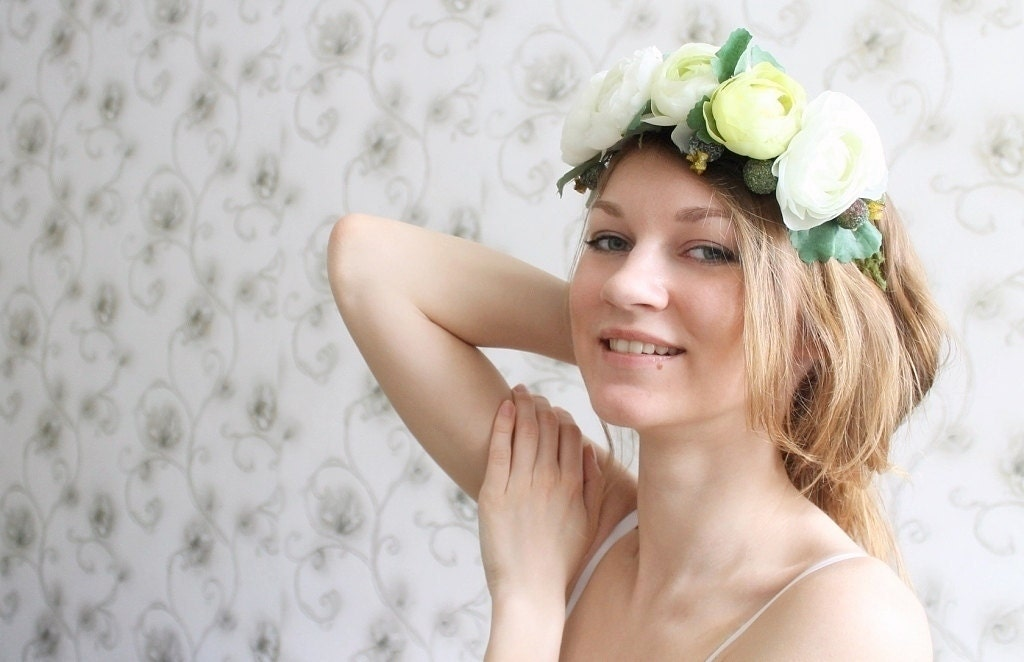 Lime green ranunculus wedding headband Spring wedding flower headband