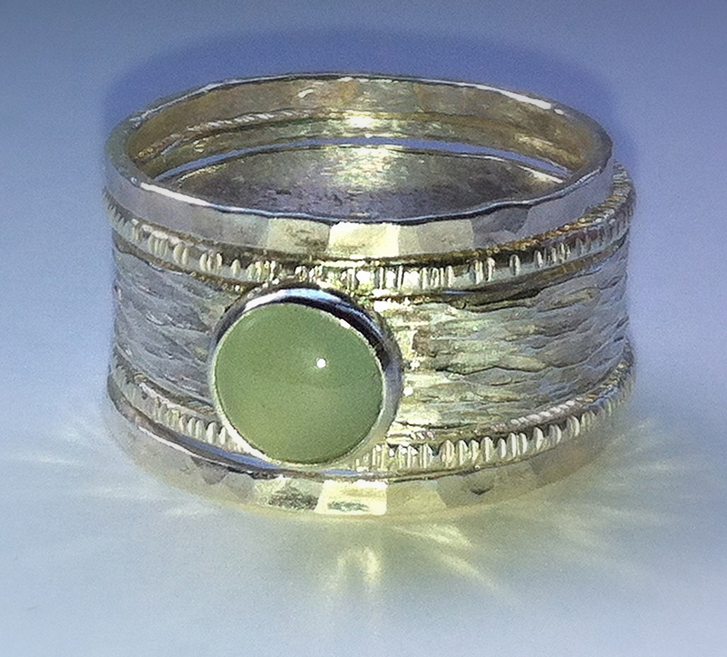 unique handmade aquamarine rustic recycled sterling silver