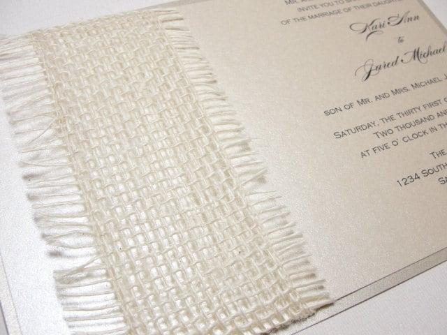 Burlap Wrapped Wedding Reception Invitations Burlap Wedding Invitations