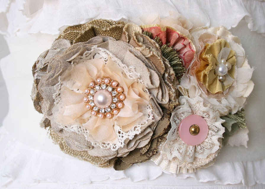 Floral Bridal Sash Country Chic Rustic Vintage Natural Colors