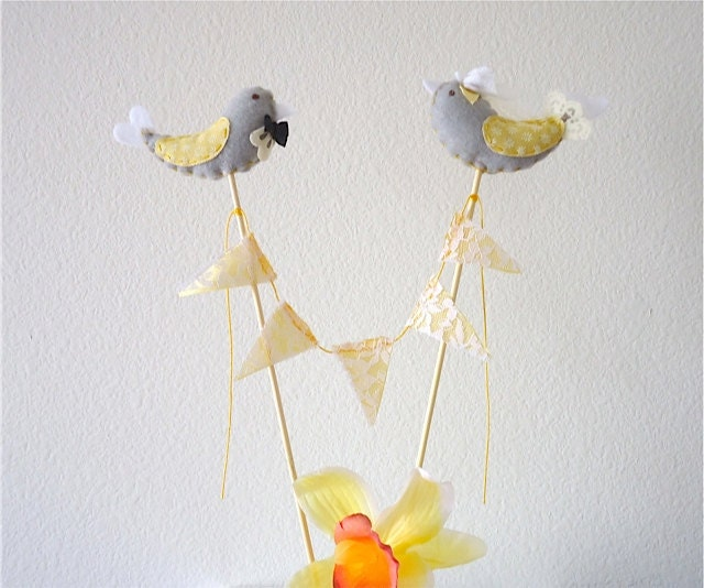 Honey Wedding Cake Topper Grey and Yellow Bird Cake topper Modern Wedding
