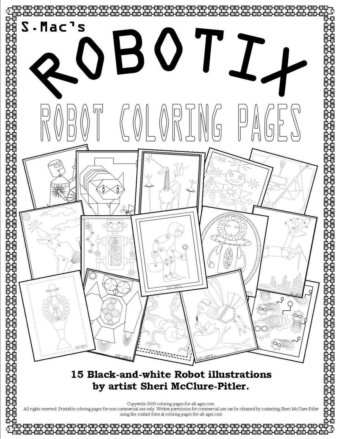 Adult Coloring Book, Robot coloring pages, line drawings, printable, ...