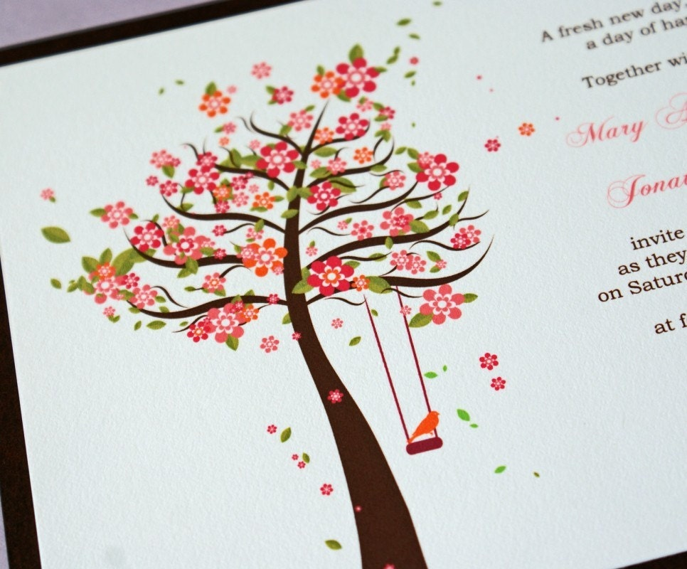 Spring Tree and Love Birds Wedding Invitations Sample Set